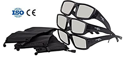Plastic Solar Eclipse Glasses /w Carry Case | Adult Size | Cool Style and Look | CE and ISO Certified | Safe Solar Viewing – 3 Pack (3 Glasses and 3 Cases)