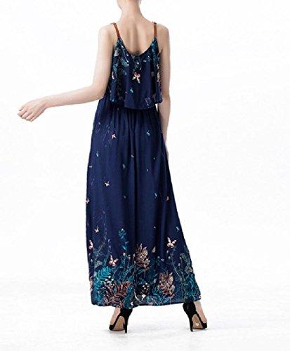 Coolred-femmes Coutures À Motifs Robe D'été Extensible Robe De Plage Maxi Bleu Violacé