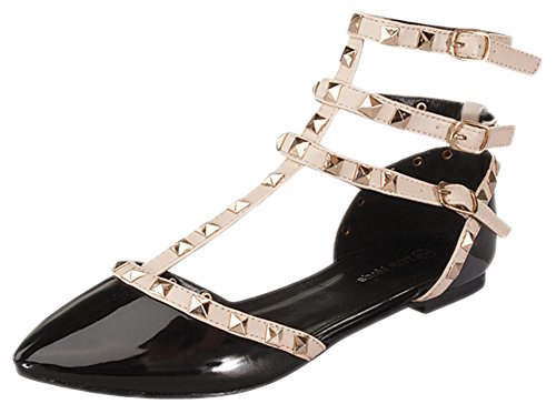 Top Womens Strappy Punk Black 1 Beige Toe Moda Gladiator Light Orange Buckle Pointed Studded Flat vvw8qr5