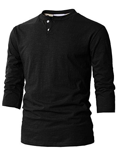 H2H Mens Casual Slim Fit Baseball Three-Quarter Sleeve Henley T-Shirts Black US S/Asia M (KMTTS0548) (Mens Three Quarter Length Coat)
