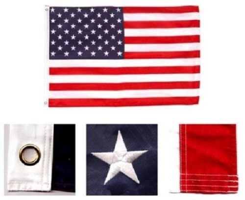 AES 8x12 Foot Embroidered Sewn U.S. USA American 50 Star Nylon Flag 8