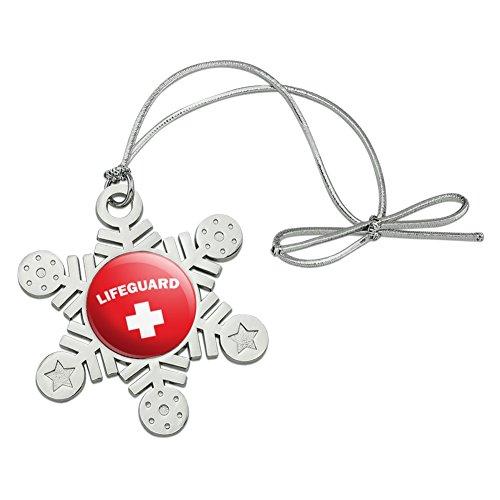Graphics and More Lifeguard Red and White Metal Snowflake Christmas Tree Holiday Ornament (White Metal Snowflakes)