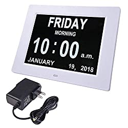 White 8 Digital Electric Clock Calendar Wall Desk Table Bold Letter 6 Alarm Settings 8 Languages for Home Dorm Office
