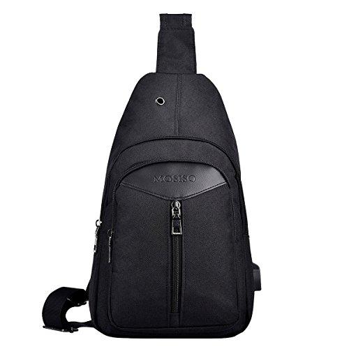 Mosiso Sling Backpack with USB Charging Port, Polyester Travel Daypack Durable Chest Shoulder Unbalance Gym Fanny Lightweight Crossbody Sack Satchel Outdoor Hiking Bag for Men Women Girls Boys, Black