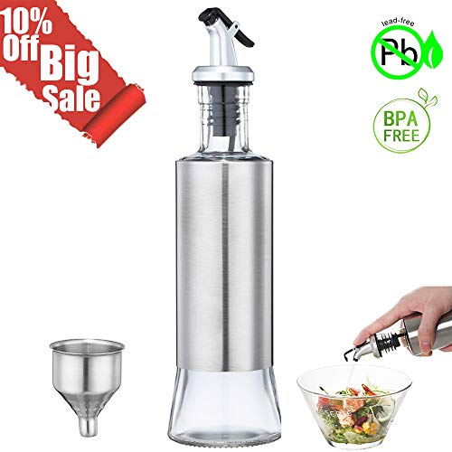 Olive Oil Bottle, Vinegar and Sauce Dispenser,  11ounce/300milliliter Olive Oil Dispenser with Drip-Free Spout and Stainless Steel Funnel for Kitchen BBQ ()