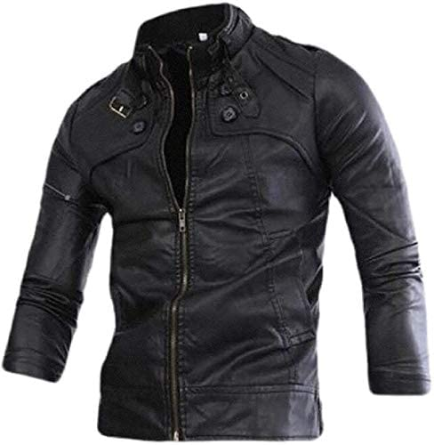 Godyers Mens Faux Pu Leather Buttons Stand Collar Fashion Motorcycle Biker Jacket
