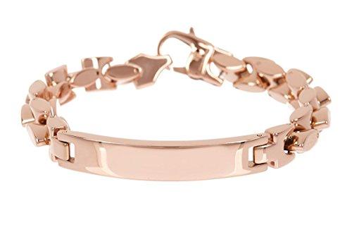 Blackjack Jewelry Polished 18k Rose Gold Plated Stainless Steel Engravable ID Anchor Link Bracelet ()