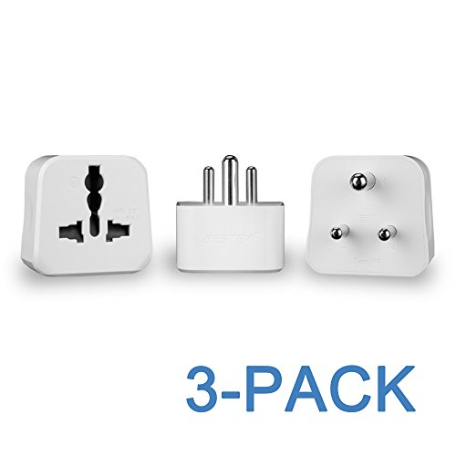 Price comparison product image India Adapter Set, BESTEK Grounded US to India Travel Power Adapter Kit for India, Hong Kong, Jordan, Maldives, Macau - Universal Outlet - 3 PACK - 2500W 10A 250V Max