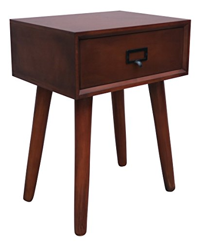 Urbanest Hartford One Drawer Side Table, Light Walnut