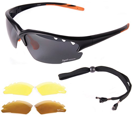 75af66b0fd6 Rapid Eyewear Fusion Black Mens   Womens UV POLARIZED SPORTS SUNGLASSES  Interchangeable Lenses