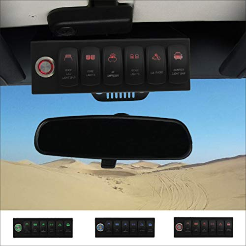 Apollointech Pro Jeep Wrangler JK & JKU 2007-2018 Overhead 6-Switch Pod/Panel in Red Backlight with Control and Relay Box (Comes with 12 Laser Switch Covers)