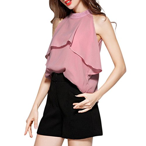 Flare Turtleneck (Livoty Clearnce, Women Blouse Summer Chiffon Elegant Fashion Solid Halter Flare Ruffles Turtleneck Top Shirts Tank Vest (S, Pink))