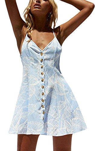 Rangeyes Verano Mujer Vestido de Deslizamiento Casual Impresión Playa Mini Vestido con Botón Sexy Cuello V Backless Corto Vestidos de Cóctel Partido Azul Claro