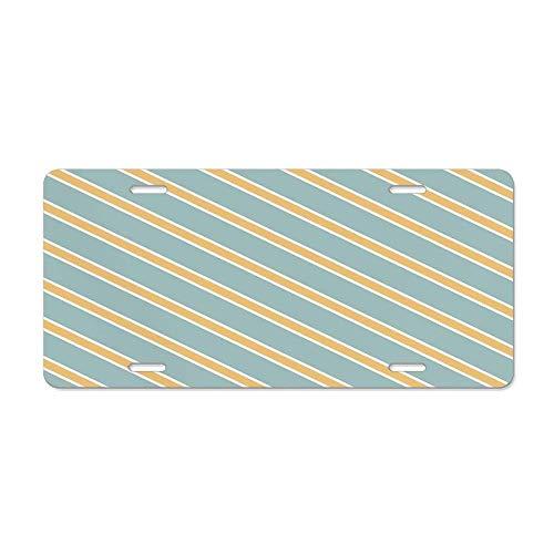 (Wonderhorsegala Shabby Chic,Nostalgic Diagonal Bold and Thin Stripes Geometric Simplistic,Almond Green Apricot Cream Custom Aluminum License Plate Tag Metal Car Tag Cover 12 x 6 in)