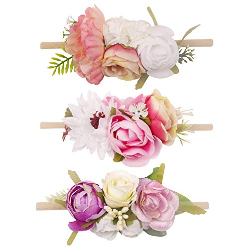 - Baby Floral Headband Nylon Turban Elastic Head Wraps For Newborn Infant Toddler Girls