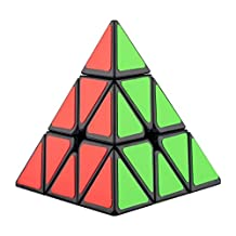 Tresbro Speed Cube 3X3 Triangle Pyramid Pyraminx Puzzle Twist Educational Toy, with Black Bag and Stand, Black