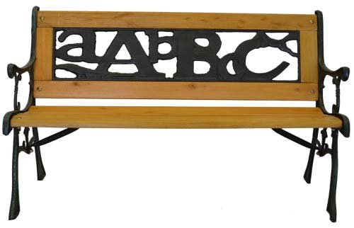 ABC Junior Park Bench -- Cast Iron Kids Park Bench With Iron Back For Yard or Garden Product SKU: PB10016