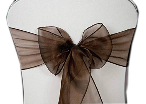 VDS - 100 PCS Elegant Organza Chair Bow Sashes Bows Ribbon Tie Back sash for Wedding Party Banquet Decor - Chocolate Brown