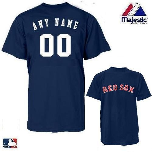 Boston Red Sox MLB Officially Licensed 100% Cotton Crewneck (Name & Number on Back) Adult Large