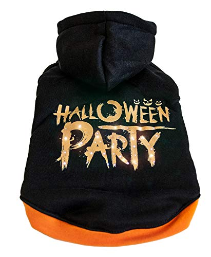 (PET LIFE 'Halloween Party' LED Lighting Fashion Designer Holiday Pet Dog Costume Sweater Hoodie w/ Included Batteries, Large,)