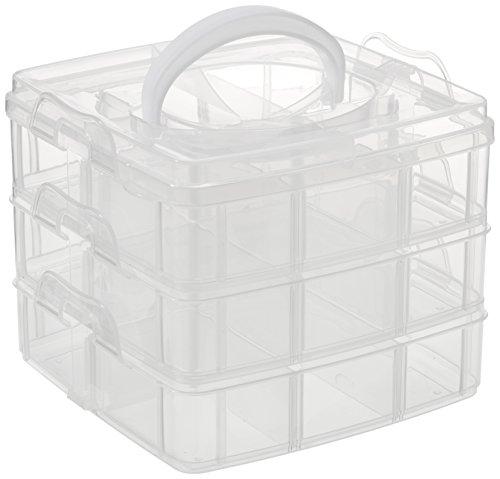 RAYHER 3918100 Sortierbox mit Tragegriff, 15,5 x 15,5 x 12,9 cm, 3 x 6 Fächer