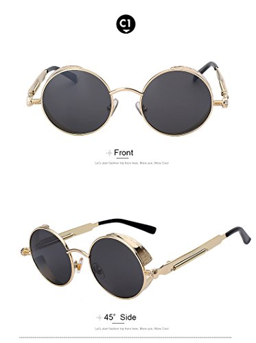 Round Metal Sunglasses Steampunk Men Women Fashion Glasses Brand Designer Retro Vintage Sunglasses UV400, Gold Frame Black - Ray Leather Outdoorsman Ban