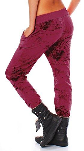 ZARMEXX Sweatpants Sweatpants Sweatpants pantalones de las mujeres Relax Fit Pant impresión de la selva burdeos