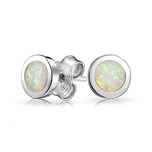 (Created White Opal Round Bezel Set Stud Earrings For Women 925 Sterling Silver 6MM October Birthstone)