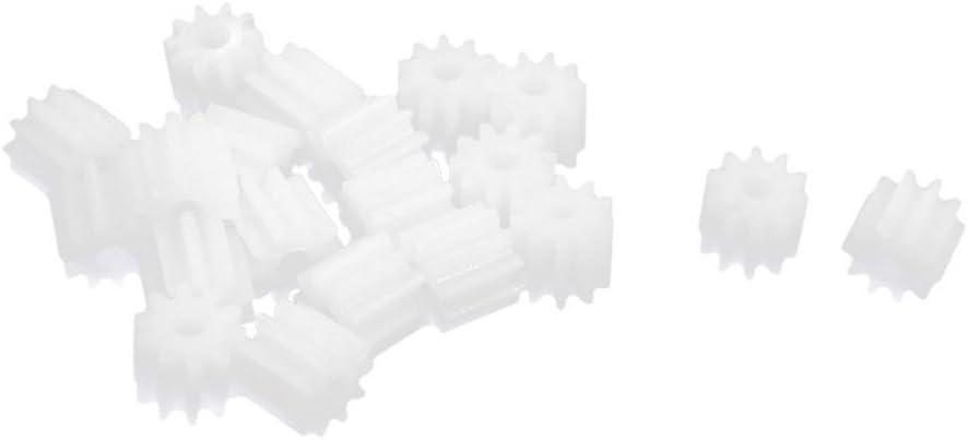 Nrpfell 20 Piezas de 6 mm x 2 mm 10 Dientes Pinon Caja de Engranajes de plastico para Motor de Eje de Coche de Juguete