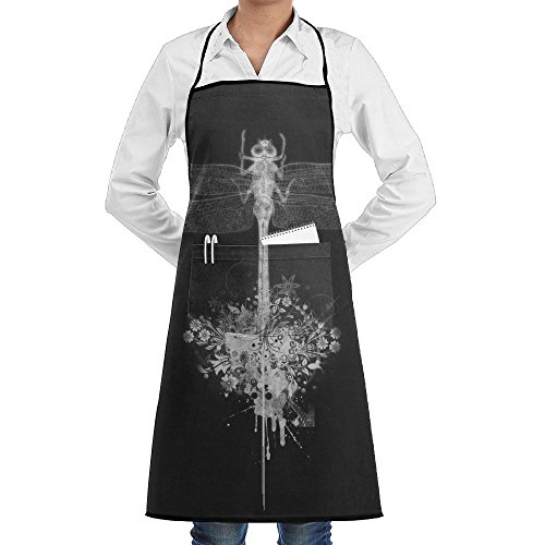Novelty Cool White Dragonfly Kitchen Chef Apron With Big Pockets - Chef Apron For Cooking,Baking,Crafting,Gardening And BBQ