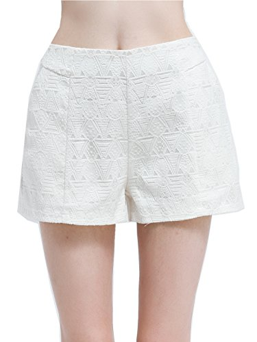 Short Beach Pants (OEUVRE Sexy Hot Pants For Girls High Waisted Floral Beach Shorts With Zipper Large)