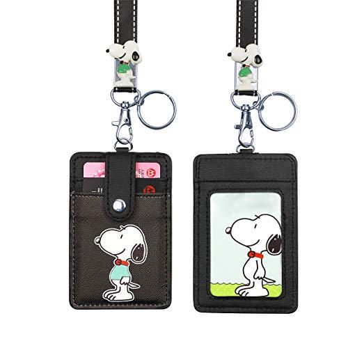 HASFINE ID Badge Holder Cute Credit Card Case Neck Pouch Lanyard with Cartoon Shield Keychain for Students Teens Boys Girls Women (Christmas Card Cartoon Ideas)