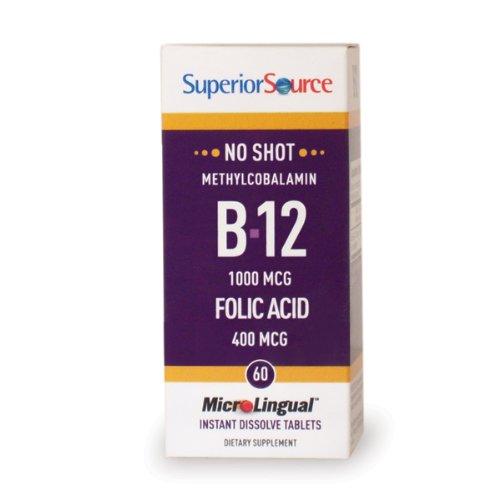 Superior Source No Shot Vitamin B12 and Folic Acid Instant Dissolve Tablets - Methylcobalamin 1000 mcg Folic Acid 400 mcg - Active B12 Sublingual 100 Count - B-12 Dots Sublingual