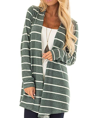 AELSON Women's Long Sleeve Cardigans Knit Striped Printed Open Front Kimono Loose Cardigan