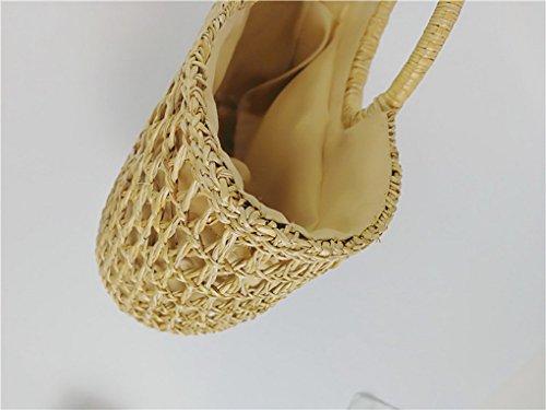 9262cc043cc60 ... ACMEDE Damen Stroh Strandtasche Sommer Vintage Umhängetasche Handarbeit  Handtasche mit rundem Griffen btZj80Pr1F ...