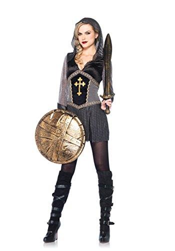 [Leg Avenue Women's Joan Of Arc Costume, Black/Silver, Large] (Joan Of Arc Costume Halloween)