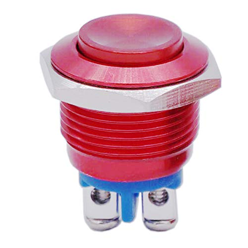Twidec / 16mm Waterproof Red Metal Shell Momentary Raised Top Push Button Switch 3A/12~250V SPST 1NO Start Button for car Modification Switch(Quality Assurance for 1 Years) M-16-R-G ()