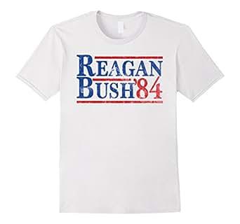 Mens Reagan Bush 84 T-shirt Ronald Reagan for President 1984 2XL White