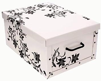 Wundervoll Große Aufbewahrungs Box mit Deckel in WEISS mit Blumen-Muster  AG41