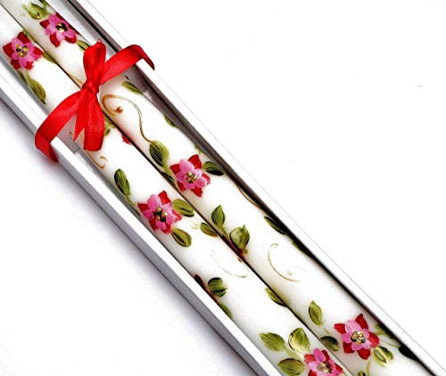 Decorated Holiday Christmas Dinner Taper Candles with Hand Painted Pink Poinsetias and Golden - Golden Dinner Swirl