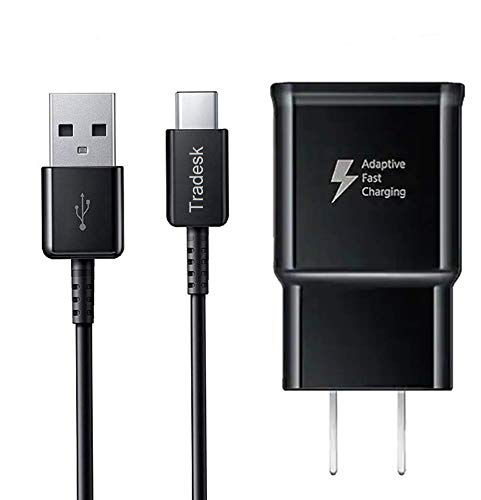 Tradesk Samsung S9 Fast Charger / Note 9 / Galaxy S8 /Note 8 Adaptive Fast Charger Samsung S10 / S9/ S8 Charger [Charging Adapter + Type-C Cable] 5 FT – 76% Faster Charging! Compatible with Samsung