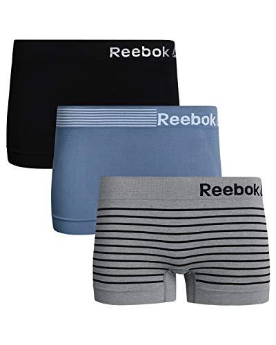 Reebok Womens 3 Pack Seamless Boyshort, Blue/Grey Stripe/Black, Size Large'