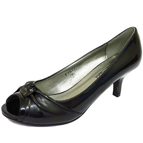 Ladies Black Patent Peep-Toe Slip-On Low Kitten Heel Court Work Shoes Sizes 3-8 emH7xaMprd