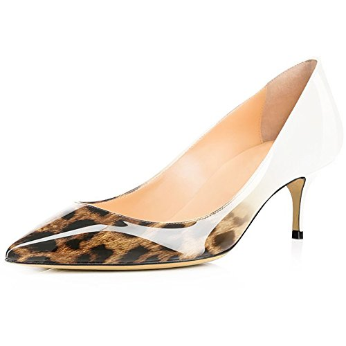 On Office White Women's Comfity Pumps Shoes Heels Pointed Brown Toe Sexy Women Pumps Dress Slip Kitten for xqqTXawg