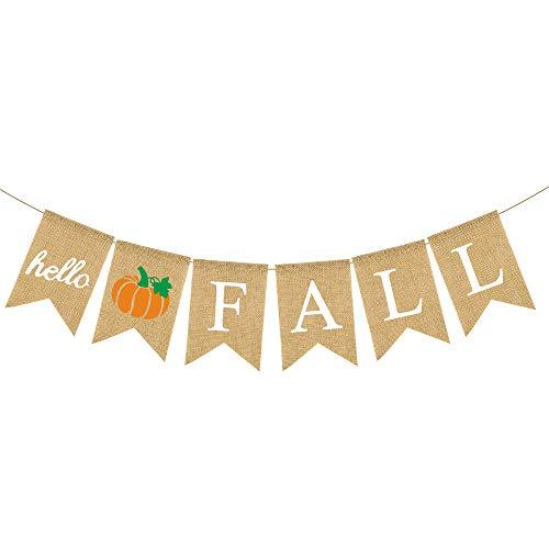 Rainlemon Jute Burlap Hello Fall Banner with Pumpkin Autumn Thanksgiving Day Mantel Fireplace Garland Decoration (Pumpkin) (Fall Hello)