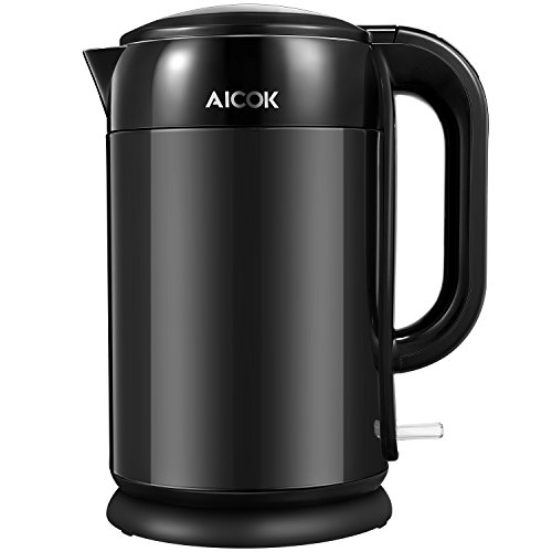 Electric Kettle Double Wall 304 Stainless Steel Electric Kettle, 1500W Hot Water Kettle Electric with 100% Stainless Steel Interior, 1.7L, BPA-Free By Aicok
