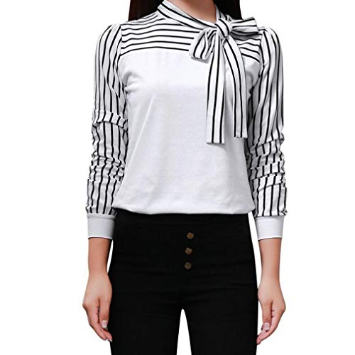 (Realdo Women Casual Tie-Bow Neck Striped Long Sleeve Splicing Shirt Blouse(White,X-Large))