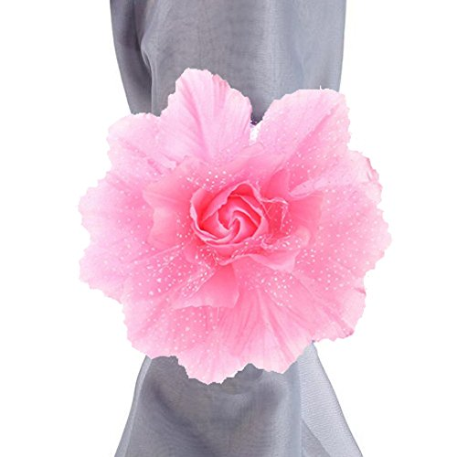 Clearance Tuscom 2Pcs Best Peony Flower Curtain Clip-on Tie,for Backs Holdback Tieback Holder Panel(10 Colors) (A) ()
