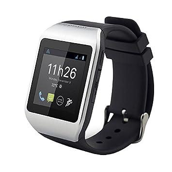Polaroid PWATCHNOIRSILVER Montre Bluetooth 3.0 pour Smartphone Android Noir/Argent