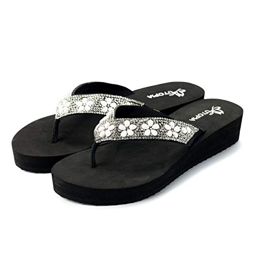 Nova Utopia Women's Casual Summer Flip-Flop Wedge Sandals, NF Utopia Women's NFLS12 SilverBlack 8